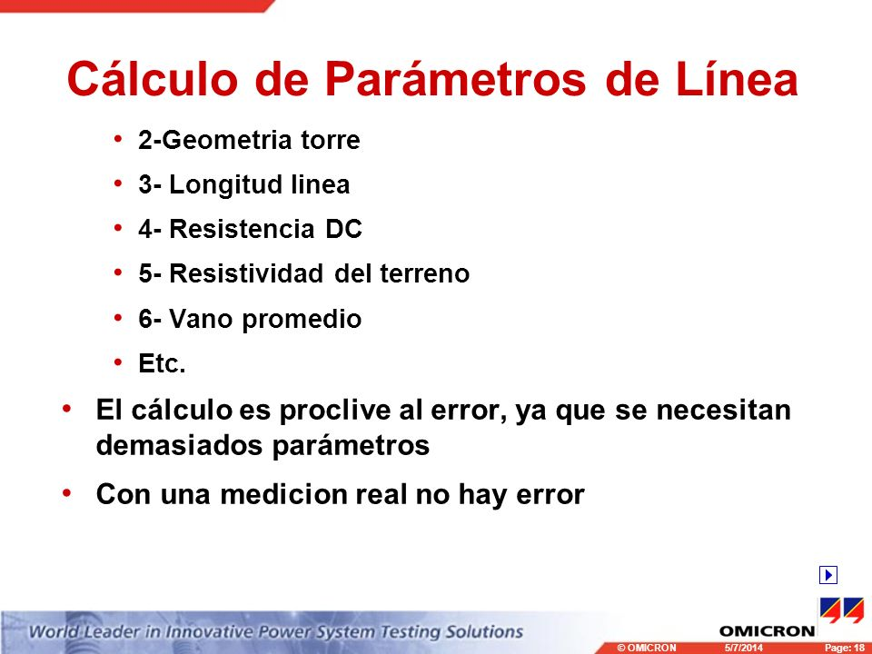 Cálculo de Parámetros de Línea