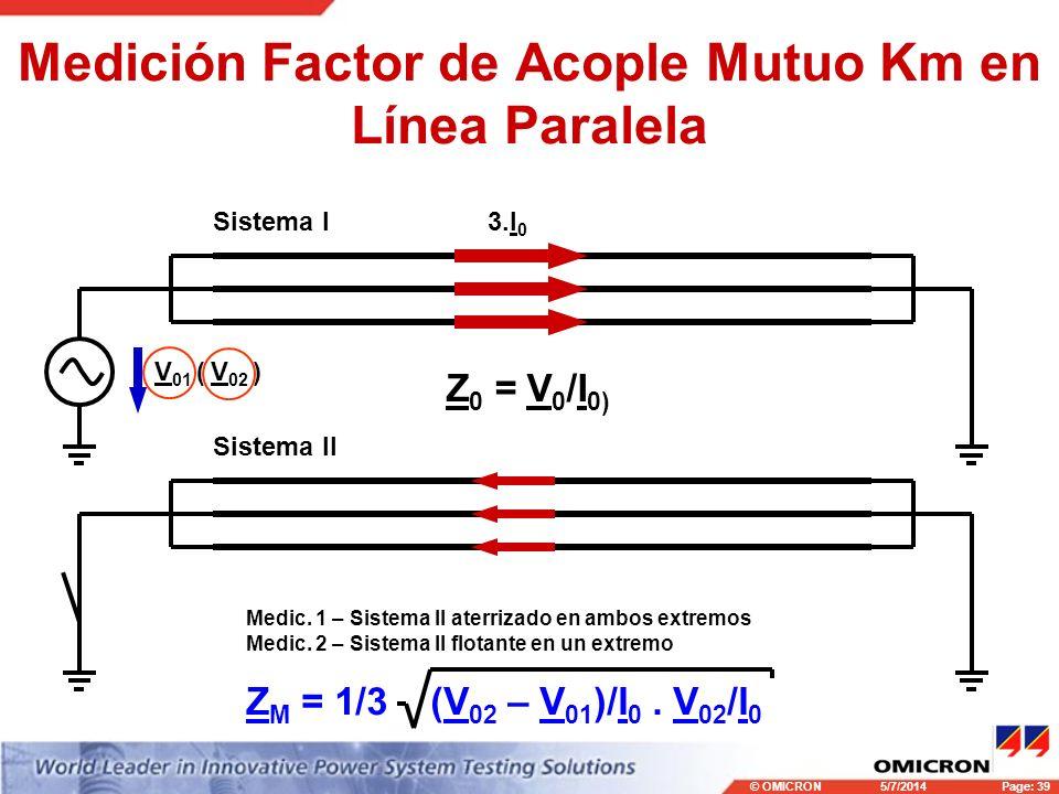 Medición Factor de Acople Mutuo Km en Línea Paralela