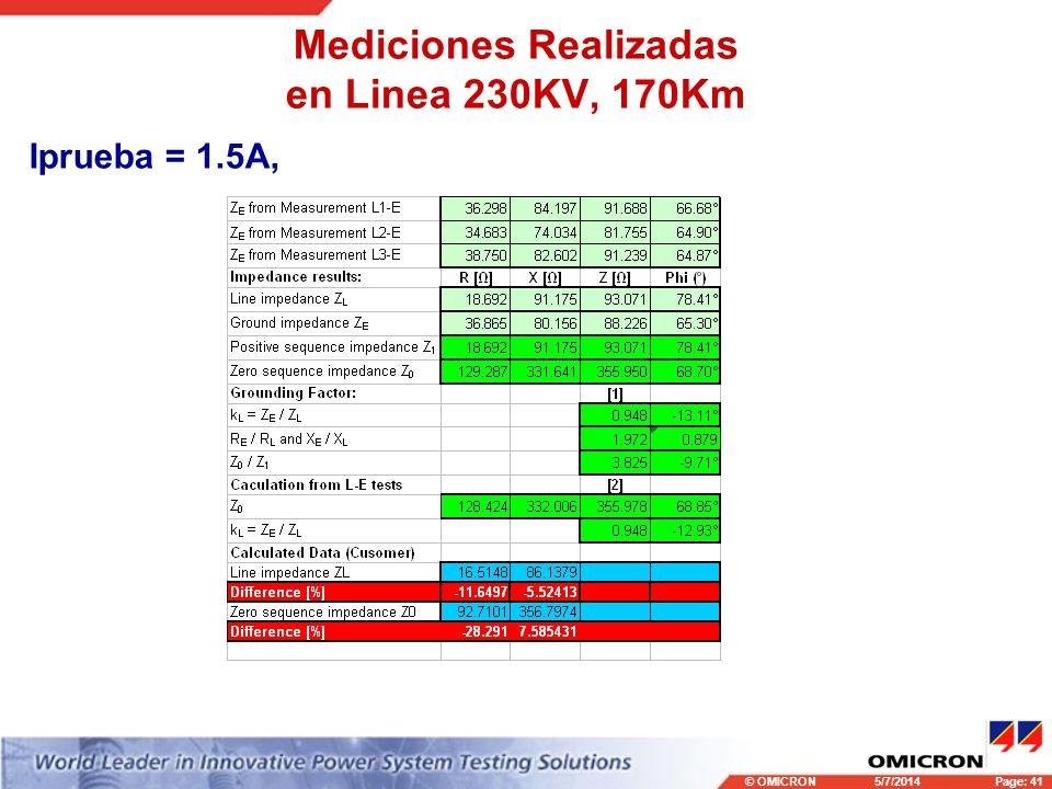Mediciones Realizadas en Linea 230KV, 170Km