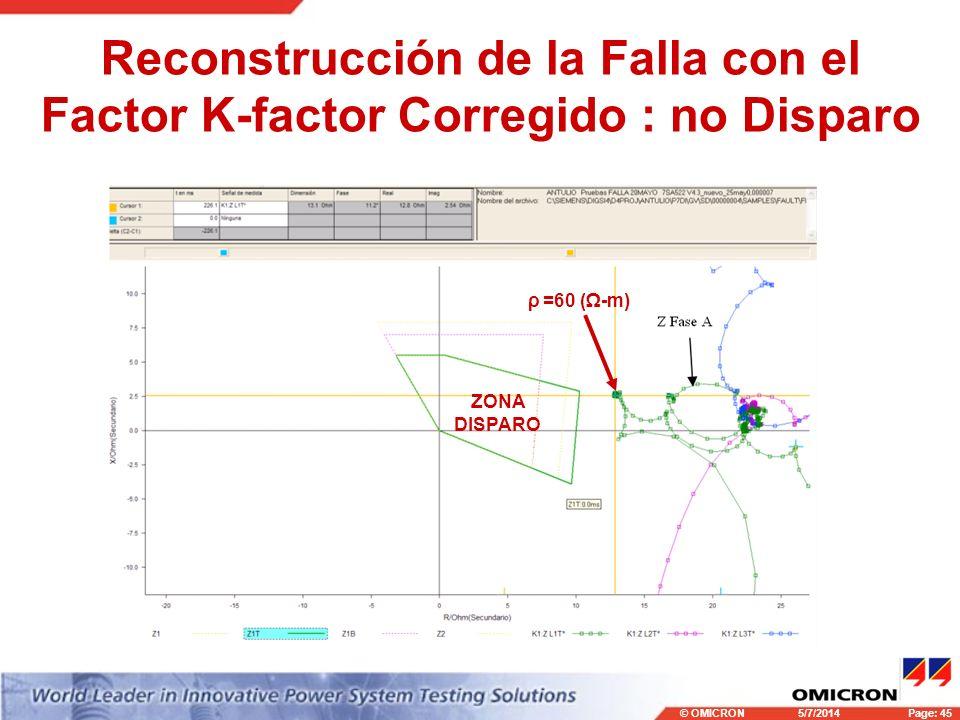 Reconstrucción de la Falla con el Factor K-factor Corregido : no Disparo