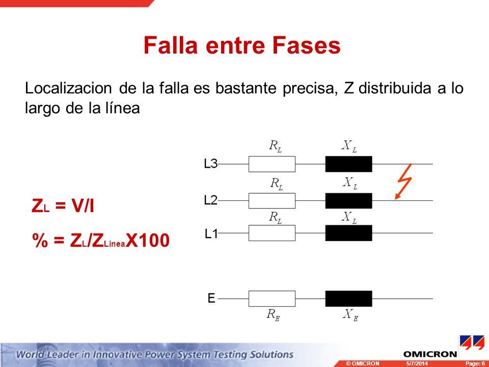 Falla entre Fases ZL = V/I % = ZL/ZLineaX100