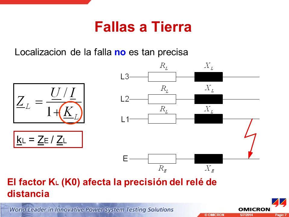 Fallas a Tierra kL = ZE / ZL