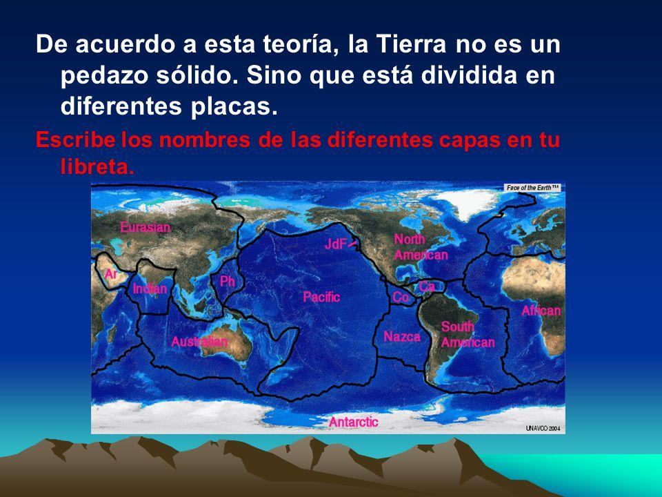 De acuerdo a esta teoría, la Tierra no es un pedazo sólido