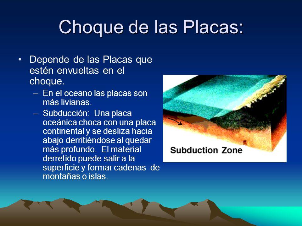 Choque de las Placas: Depende de las Placas que estén envueltas en el choque. En el oceano las placas son más livianas.