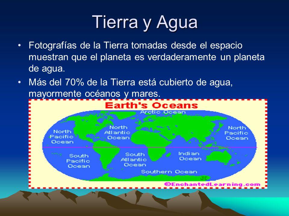 Tierra y Agua Fotografías de la Tierra tomadas desde el espacio muestran que el planeta es verdaderamente un planeta de agua.
