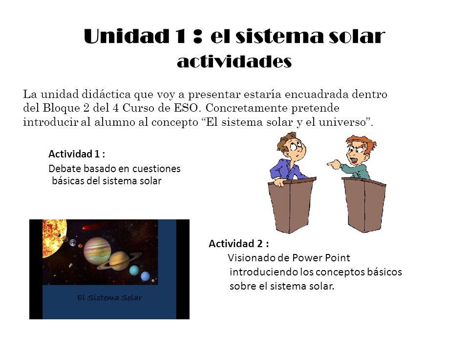 Unidad 1 : el sistema solar actividades