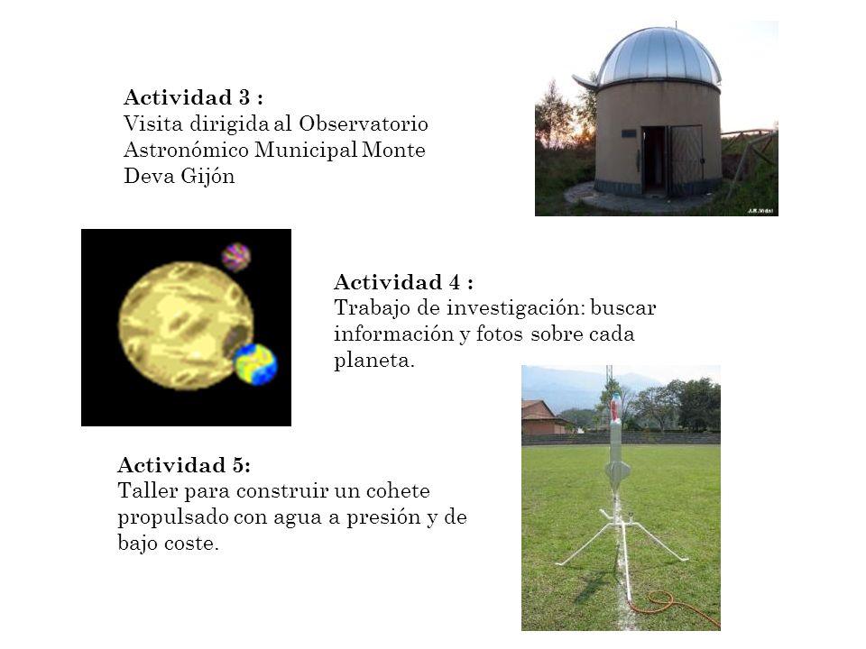 Actividad 3 : Visita dirigida al Observatorio Astronómico Municipal Monte Deva Gijón. Actividad 4 :
