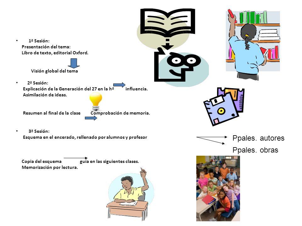 Ppales. autores Ppales. obras 1ª Sesión: Presentación del tema: