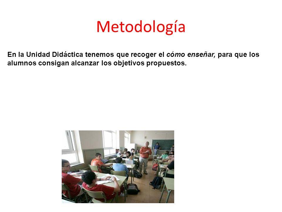 MetodologíaEn la Unidad Didáctica tenemos que recoger el cómo enseñar, para que los alumnos consigan alcanzar los objetivos propuestos.