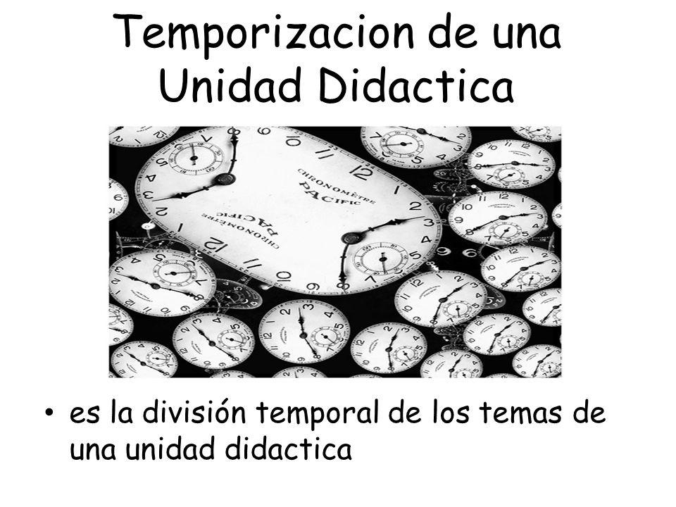 Temporizacion de una Unidad Didactica