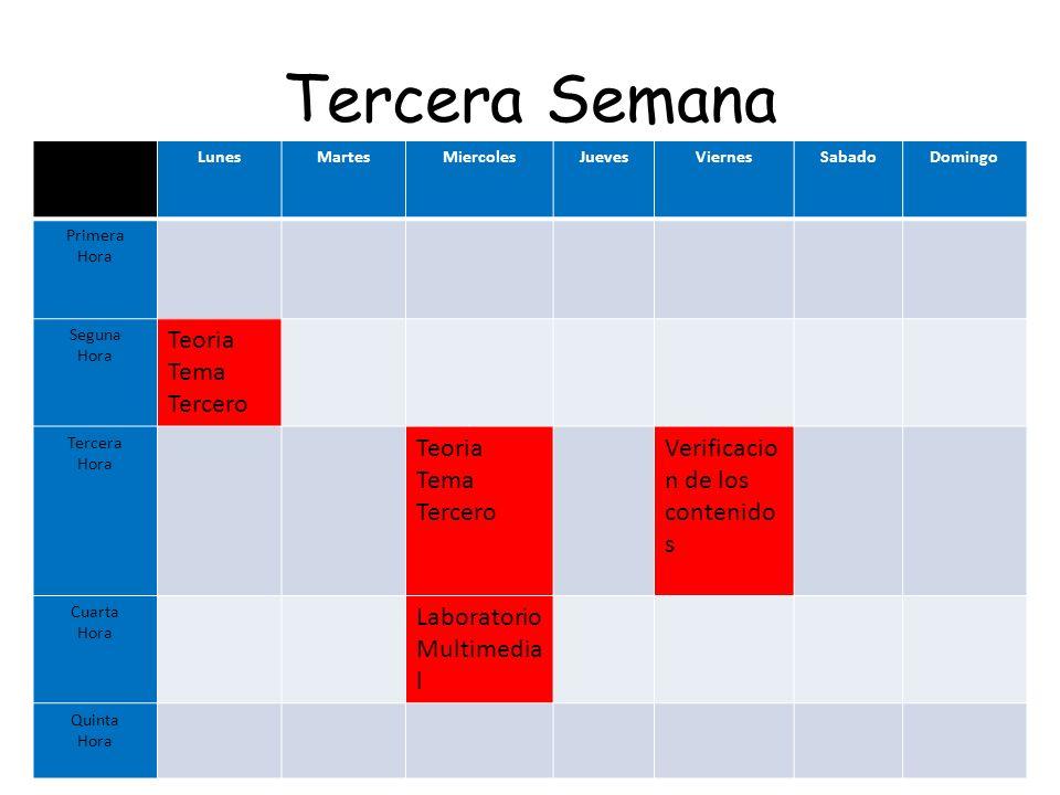 Tercera Semana Teoria Tema Tercero Verificacion de los contenidos