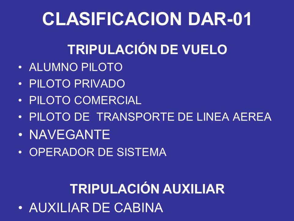 CLASIFICACION DAR-01 TRIPULACIÓN DE VUELO NAVEGANTE