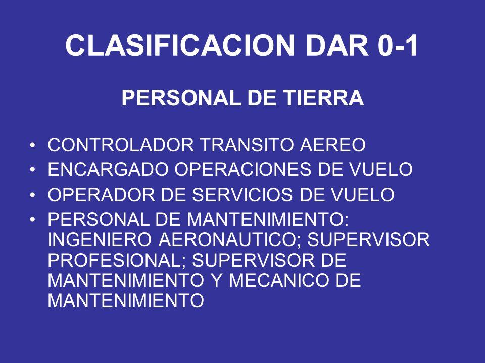 CLASIFICACION DAR 0-1 PERSONAL DE TIERRA CONTROLADOR TRANSITO AEREO