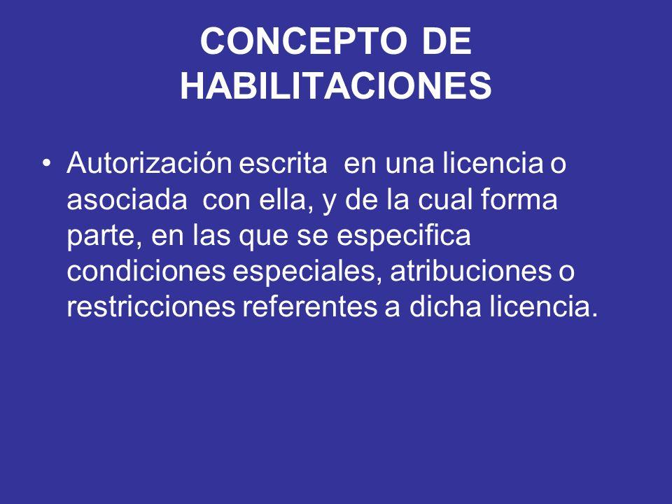 CONCEPTO DE HABILITACIONES
