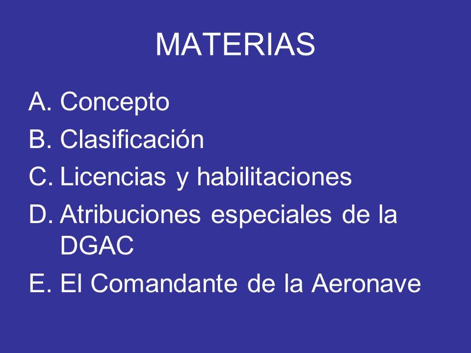 MATERIAS Concepto Clasificación Licencias y habilitaciones