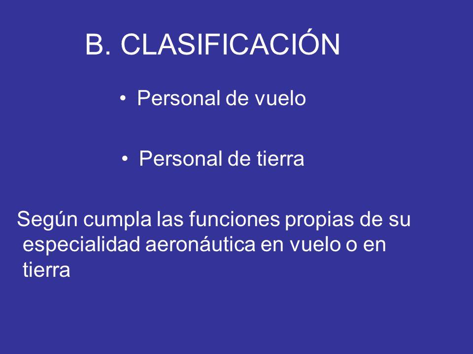 B. CLASIFICACIÓN Personal de vuelo Personal de tierra