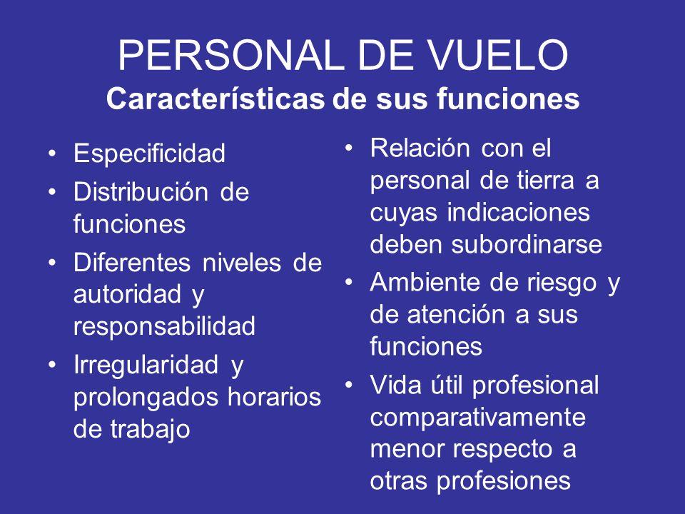 PERSONAL DE VUELO Características de sus funciones
