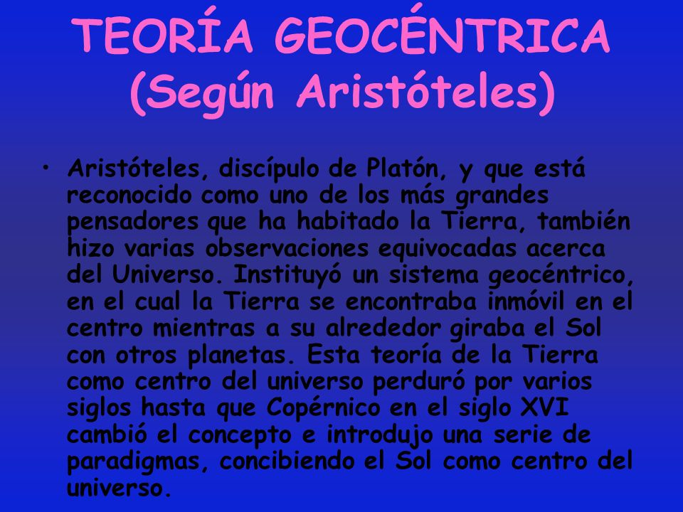 TEORÍA GEOCÉNTRICA (Según Aristóteles)