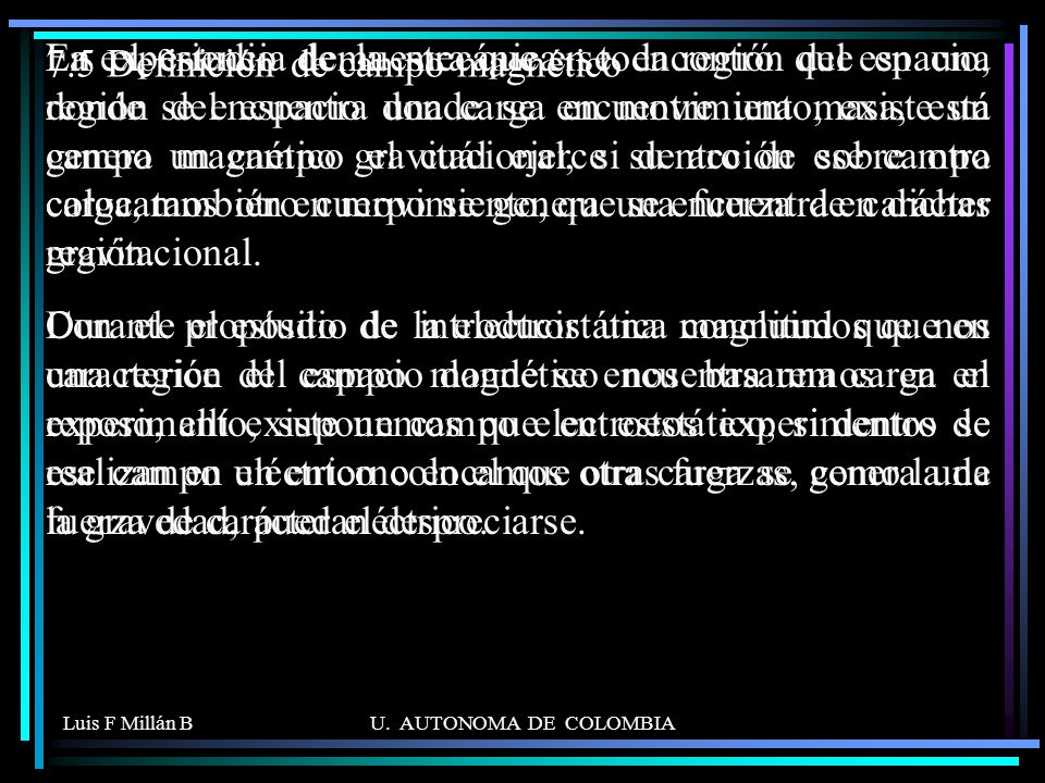 7.5 Definición de campo magnético