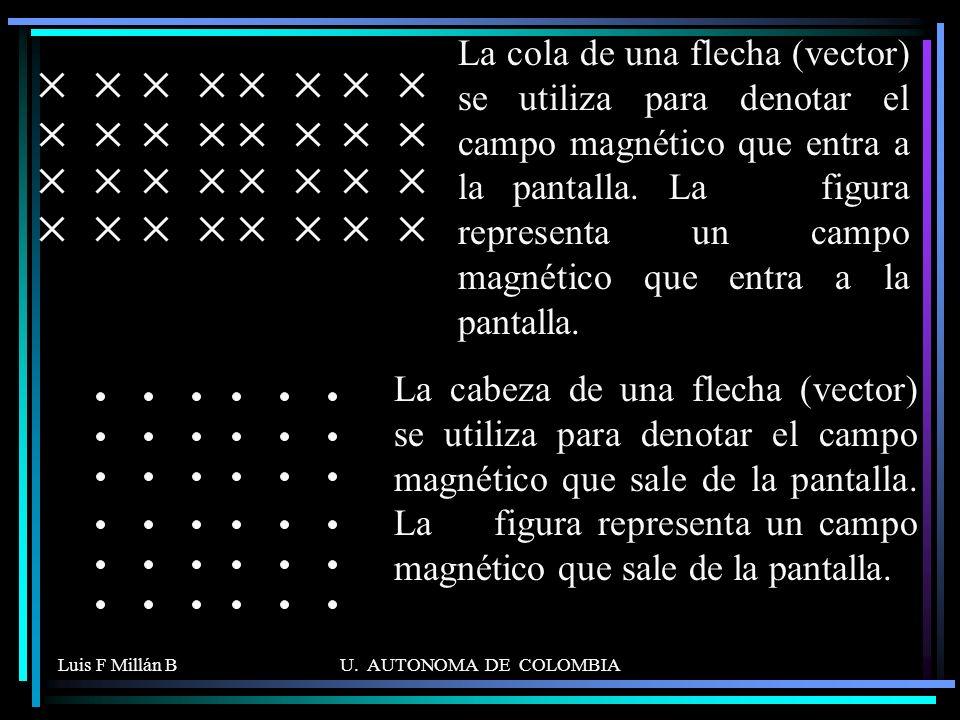 La cola de una flecha (vector) se utiliza para denotar el campo magnético que entra a la pantalla. La figura representa un campo magnético que entra a la pantalla.