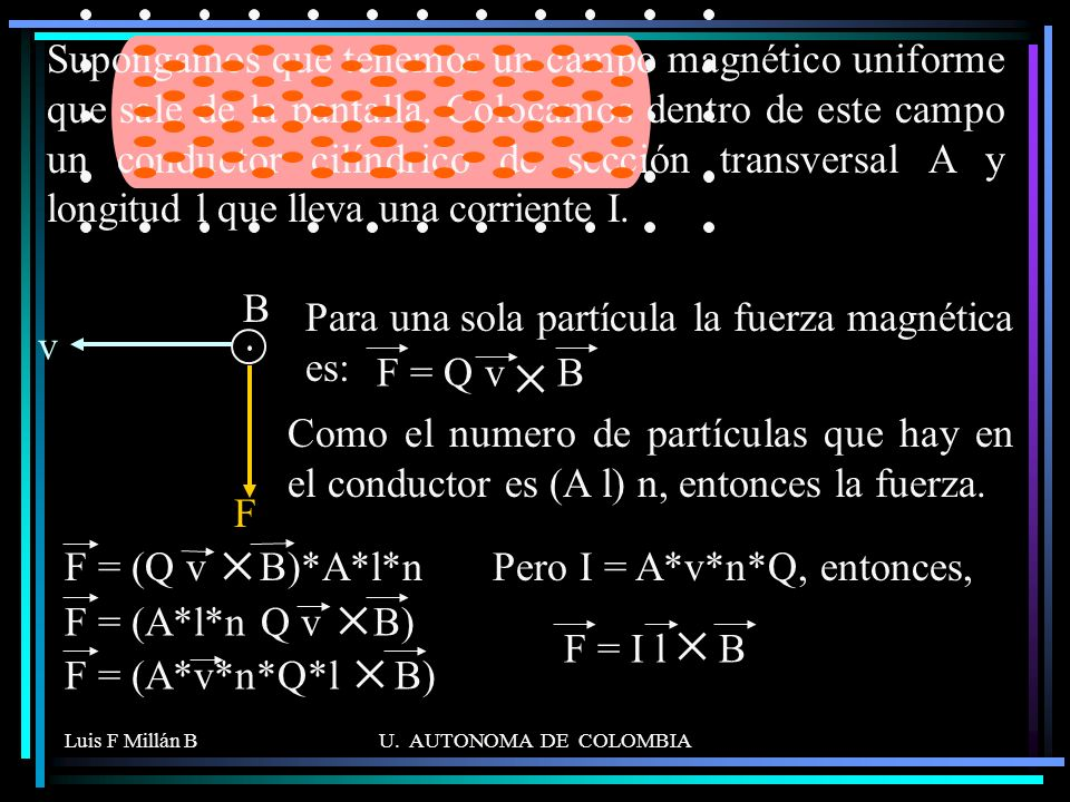 Para una sola partícula la fuerza magnética es: v F = Q v B