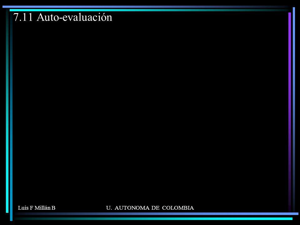 7.11 Auto-evaluación Luis F Millán B U. AUTONOMA DE COLOMBIA