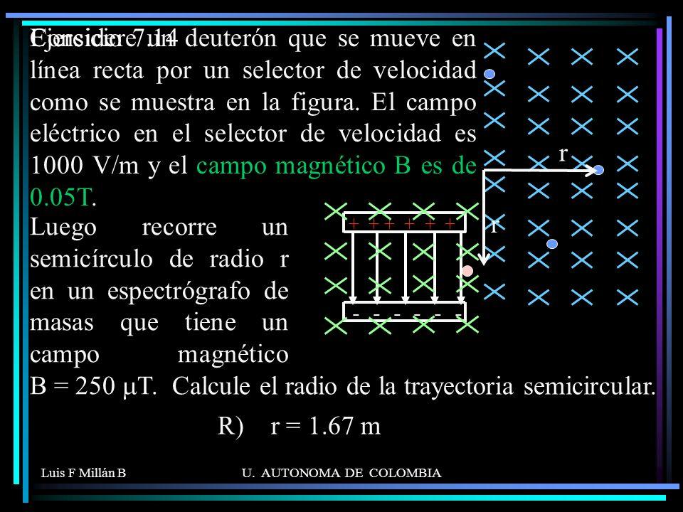 Calcule el radio de la trayectoria semicircular.