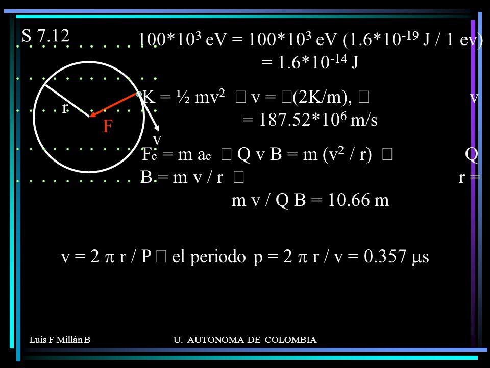 K = ½ mv2 Þ v = Ö(2K/m), Þ v = 187.52*106 m/s