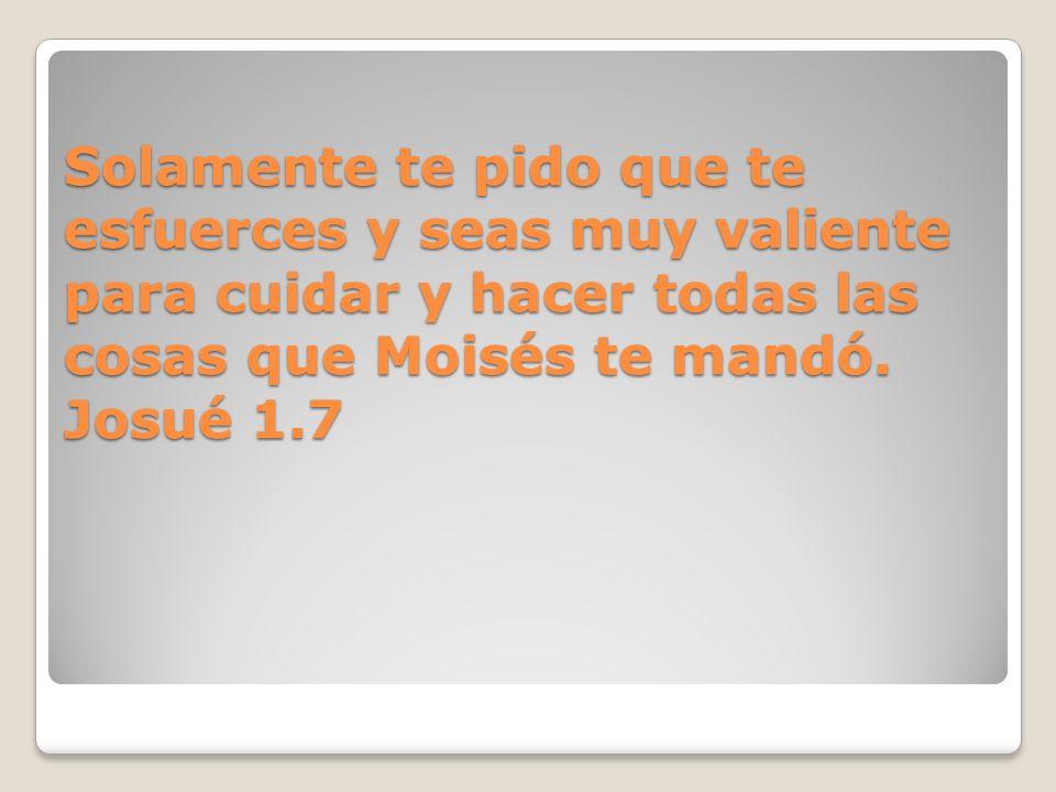 Solamente te pido que te esfuerces y seas muy valiente para cuidar y hacer todas las cosas que Moisés te mandó.