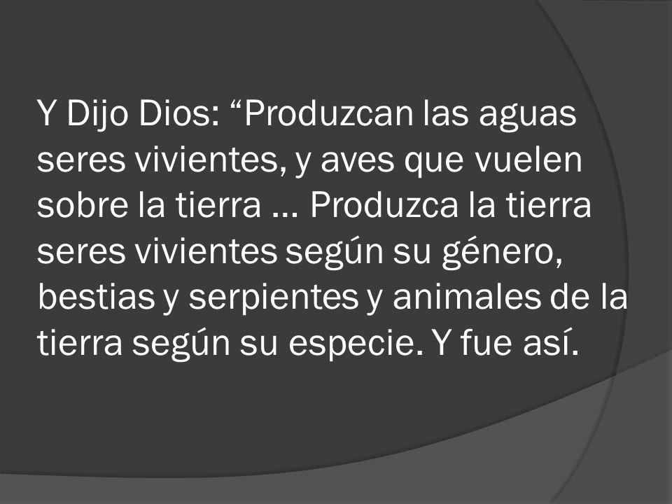 Y Dijo Dios: Produzcan las aguas seres vivientes, y aves que vuelen sobre la tierra … Produzca la tierra seres vivientes según su género, bestias y serpientes y animales de la tierra según su especie.