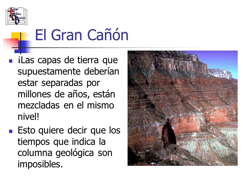 El Gran Cañón ¡Las capas de tierra que supuestamente deberían estar separadas por millones de años, están mezcladas en el mismo nivel!