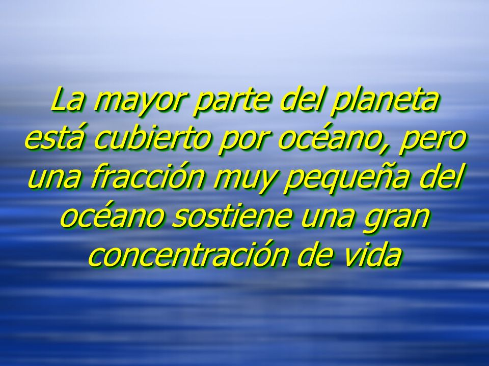 La mayor parte del planeta está cubierto por océano, pero una fracción muy pequeña del océano sostiene una gran concentración de vida