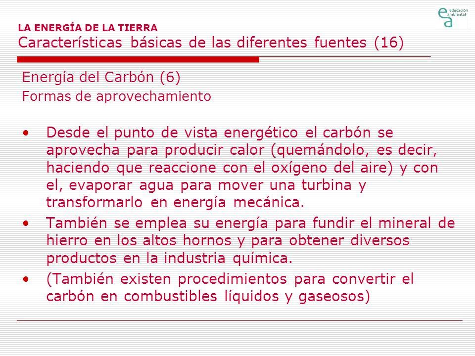 LA ENERGÍA DE LA TIERRA Características básicas de las diferentes fuentes (16)
