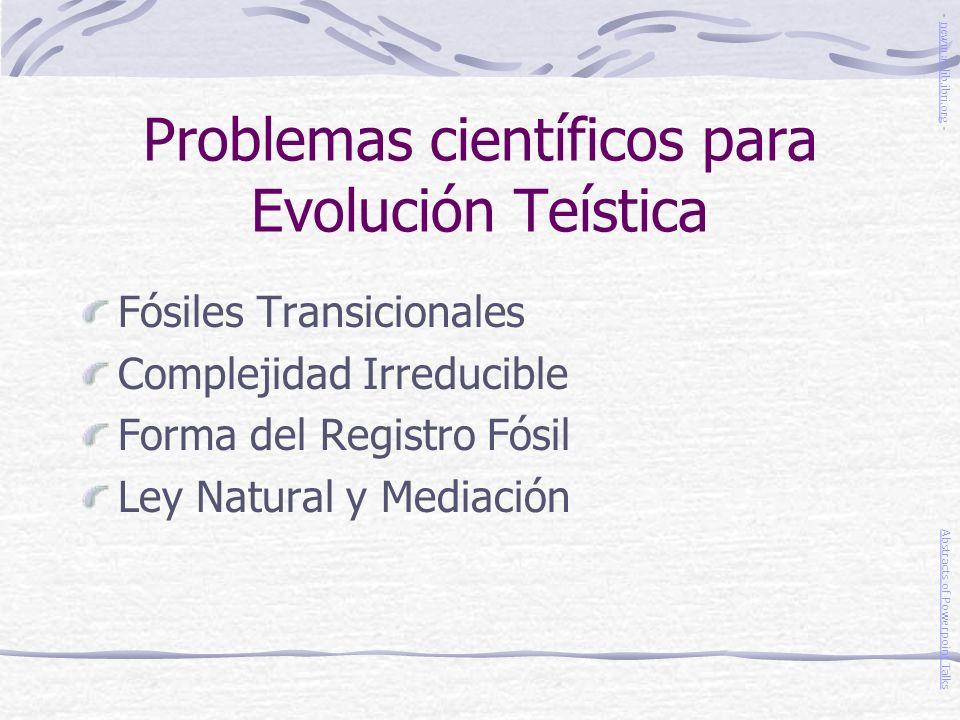 Problemas científicos para Evolución Teística