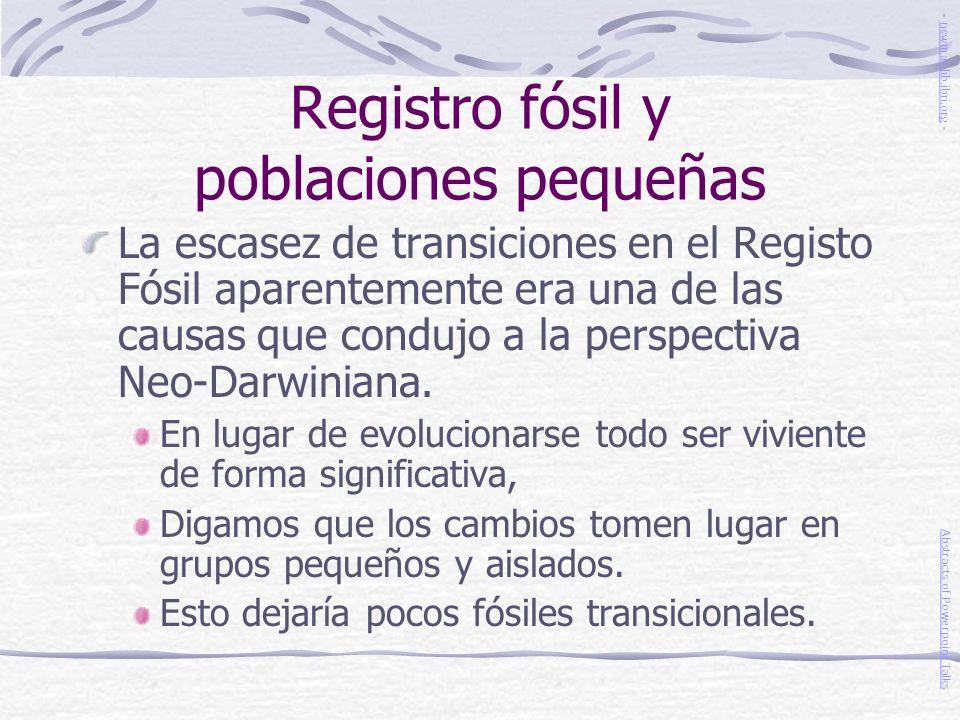 Registro fósil y poblaciones pequeñas
