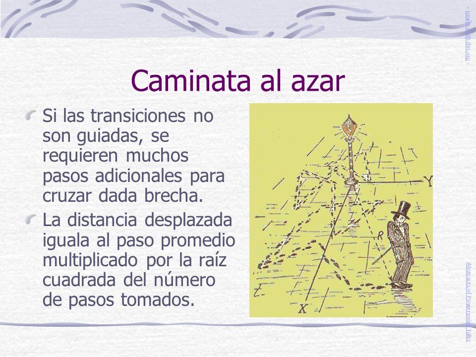 Caminata al azar - newmanlib.ibri.org - Si las transiciones no son guiadas, se requieren muchos pasos adicionales para cruzar dada brecha.