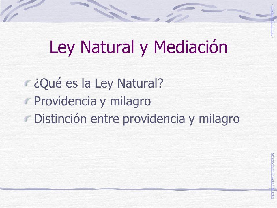 Ley Natural y Mediación