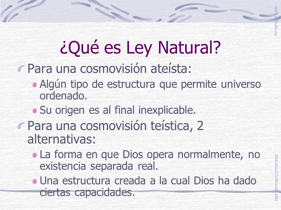 ¿Qué es Ley Natural Para una cosmovisión ateísta: