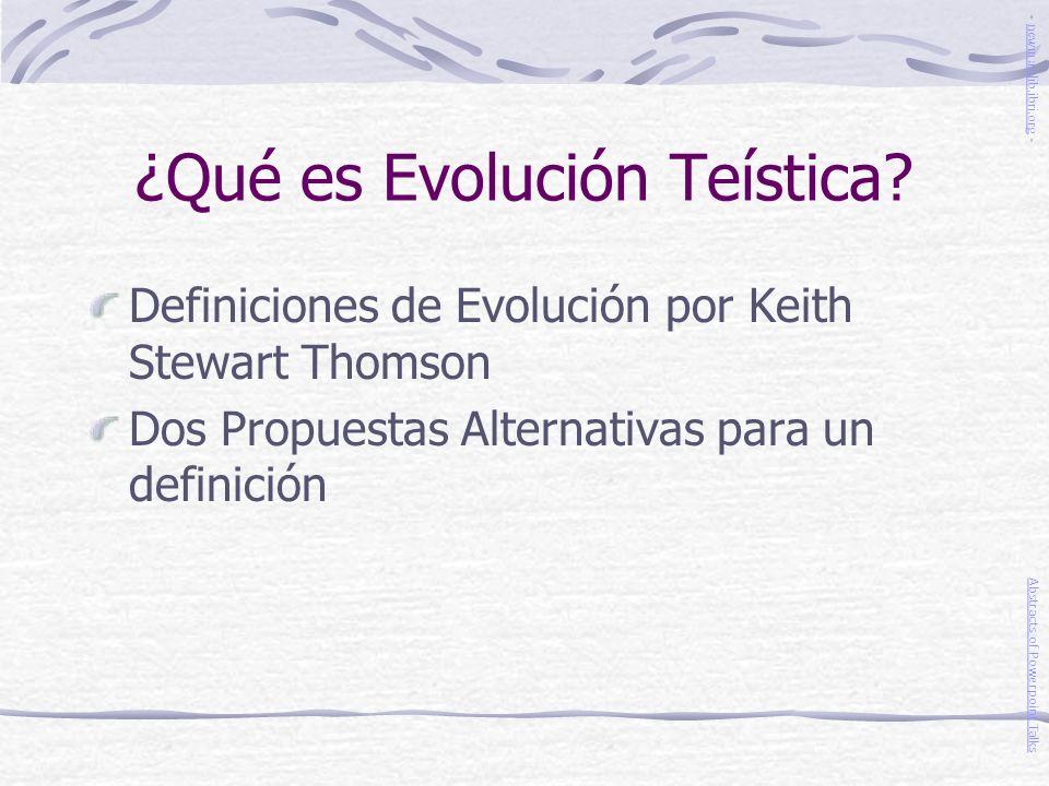 ¿Qué es Evolución Teística
