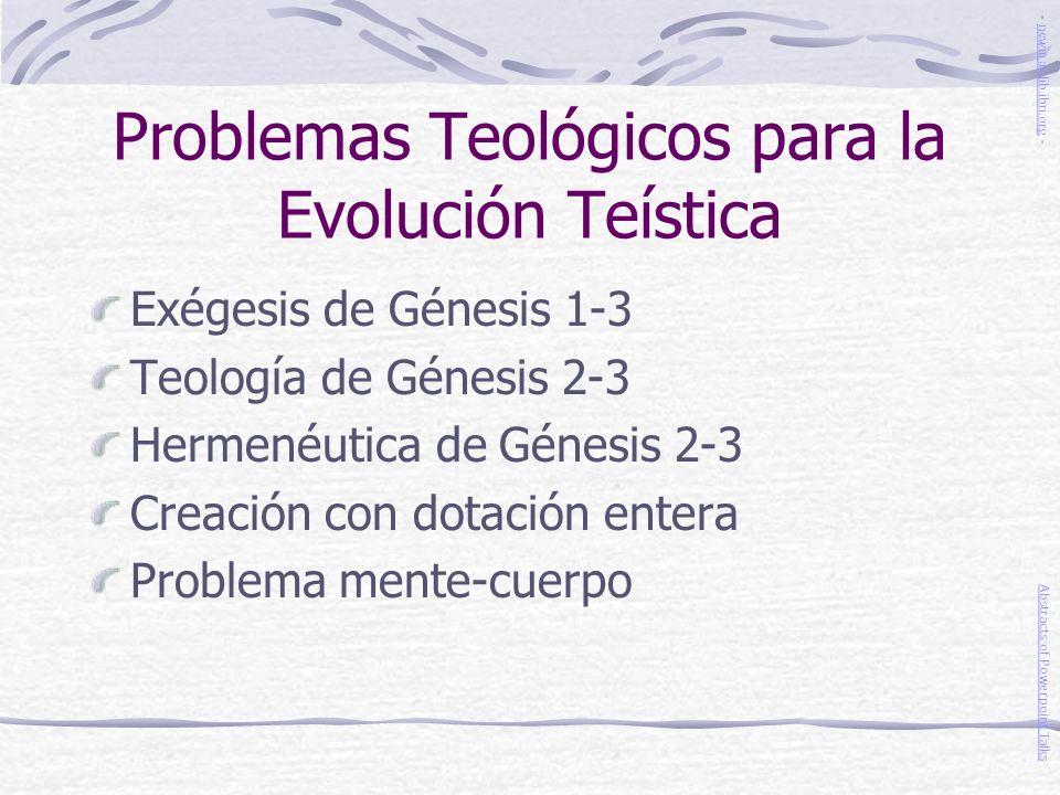 Problemas Teológicos para la Evolución Teística