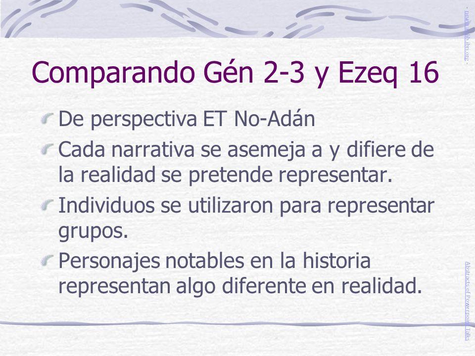 Comparando Gén 2-3 y Ezeq 16 De perspectiva ET No-Adán