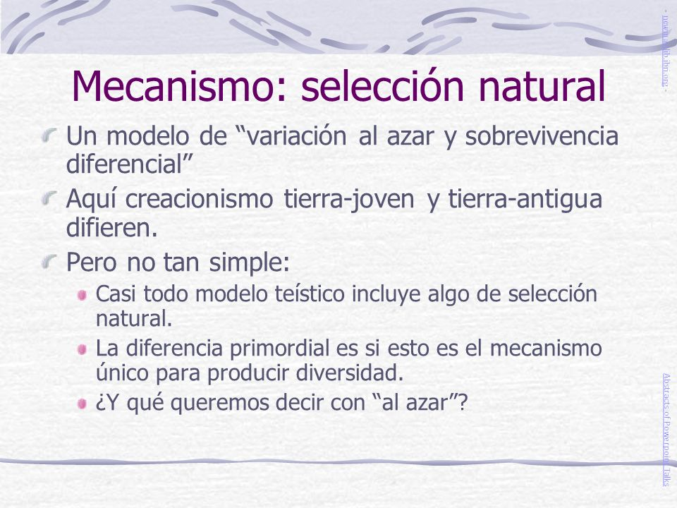 Mecanismo: selección natural