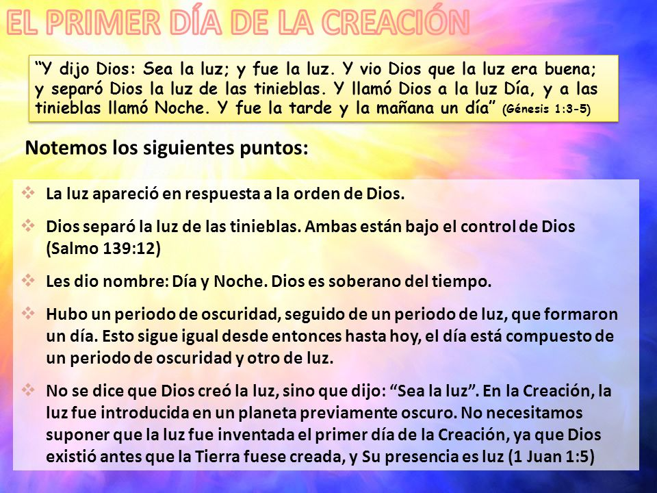 EL PRIMER DÍA DE LA CREACIÓN