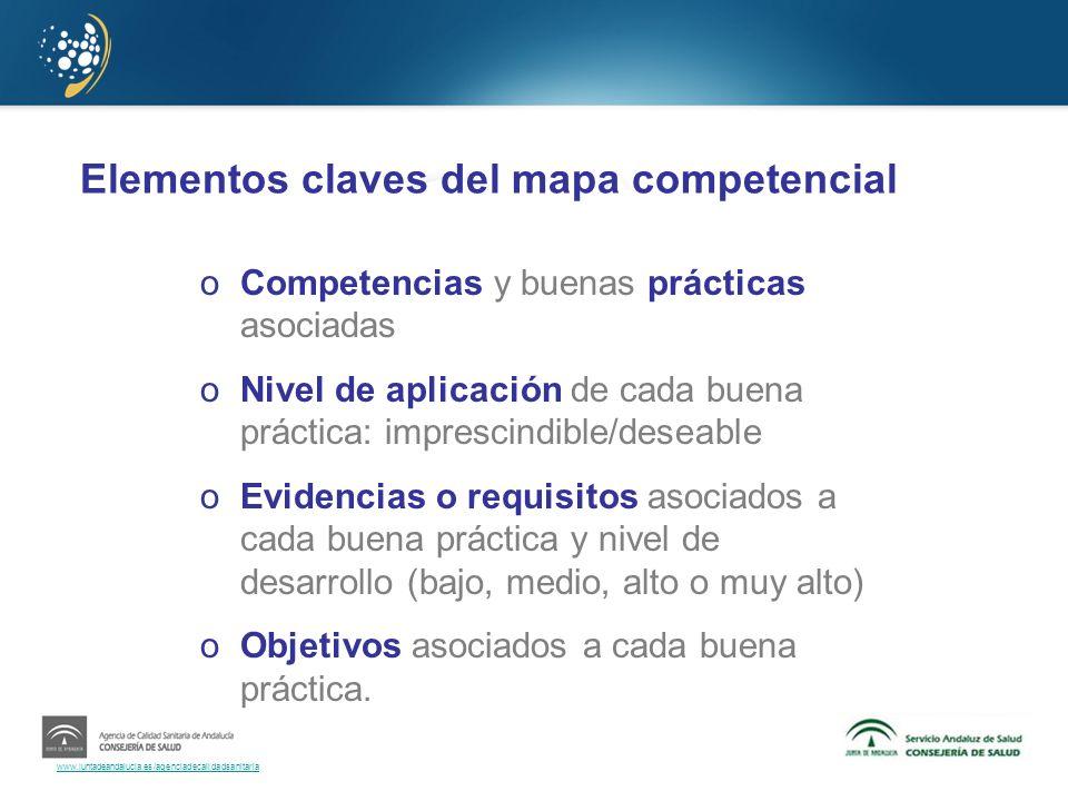 Elementos claves del mapa competencial