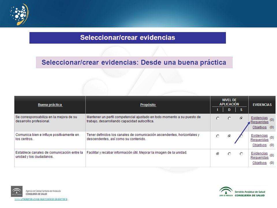 Seleccionar/crear evidencias