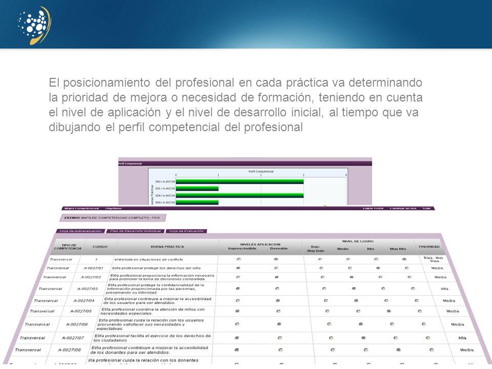 El posicionamiento del profesional en cada práctica va determinando la prioridad de mejora o necesidad de formación, teniendo en cuenta el nivel de aplicación y el nivel de desarrollo inicial, al tiempo que va dibujando el perfil competencial del profesional