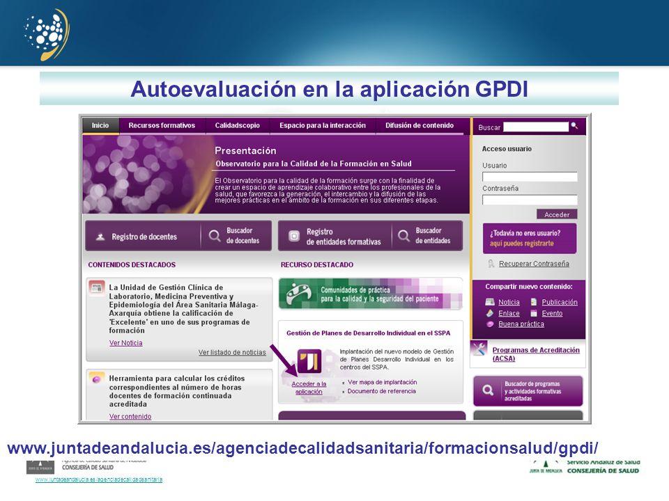 Autoevaluación en la aplicación GPDI