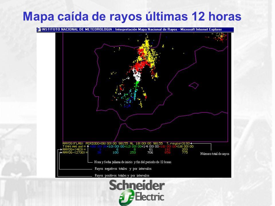 Mapa caída de rayos últimas 12 horas