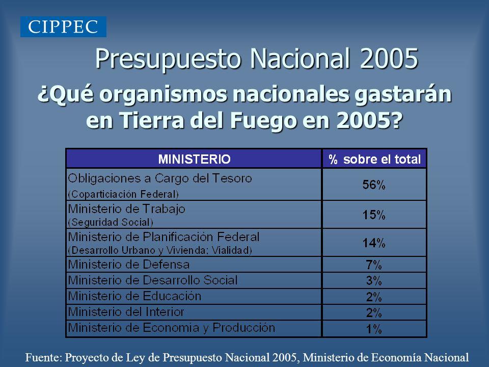 ¿Qué organismos nacionales gastarán en Tierra del Fuego en 2005