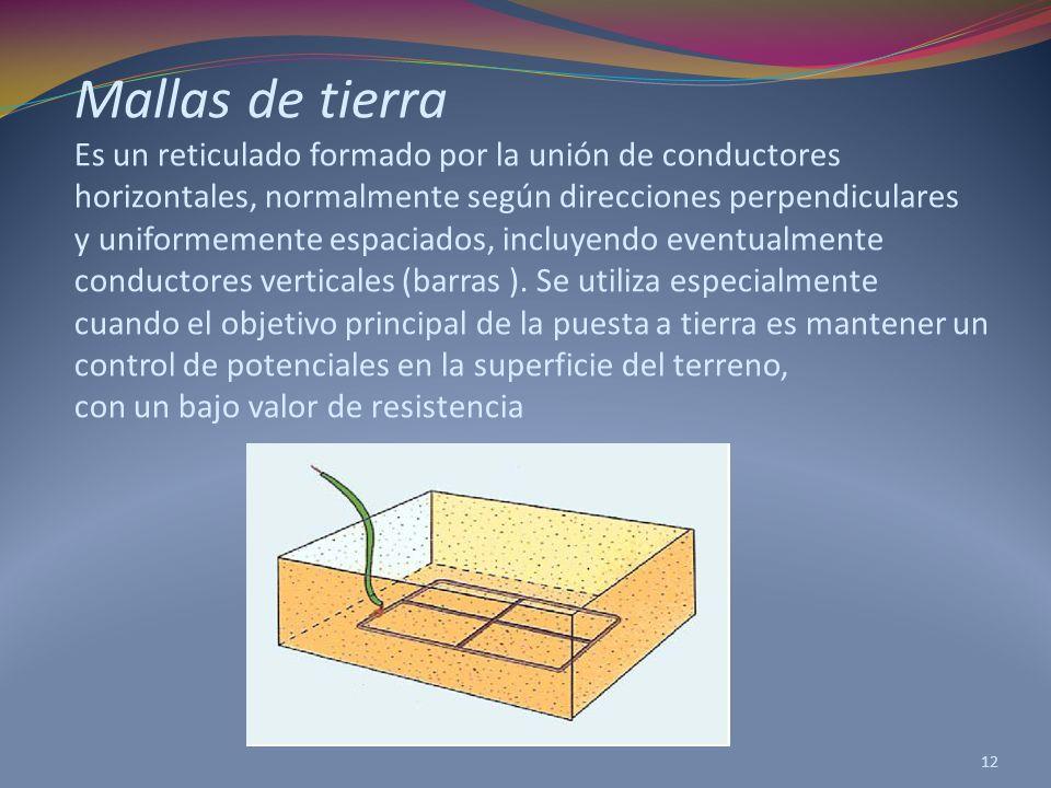 Mallas de tierra Es un reticulado formado por la unión de conductores horizontales, normalmente según direcciones perpendiculares y uniformemente espaciados, incluyendo eventualmente conductores verticales (barras ).